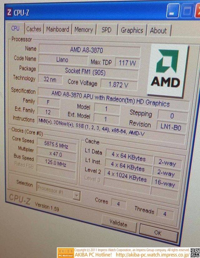A8-3870K bei knapp 5,9 GHz