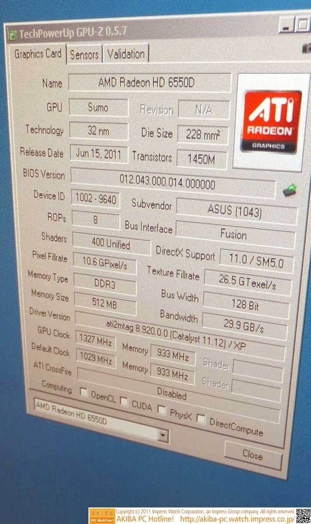 Grafiktakt bei 1.327 MHz
