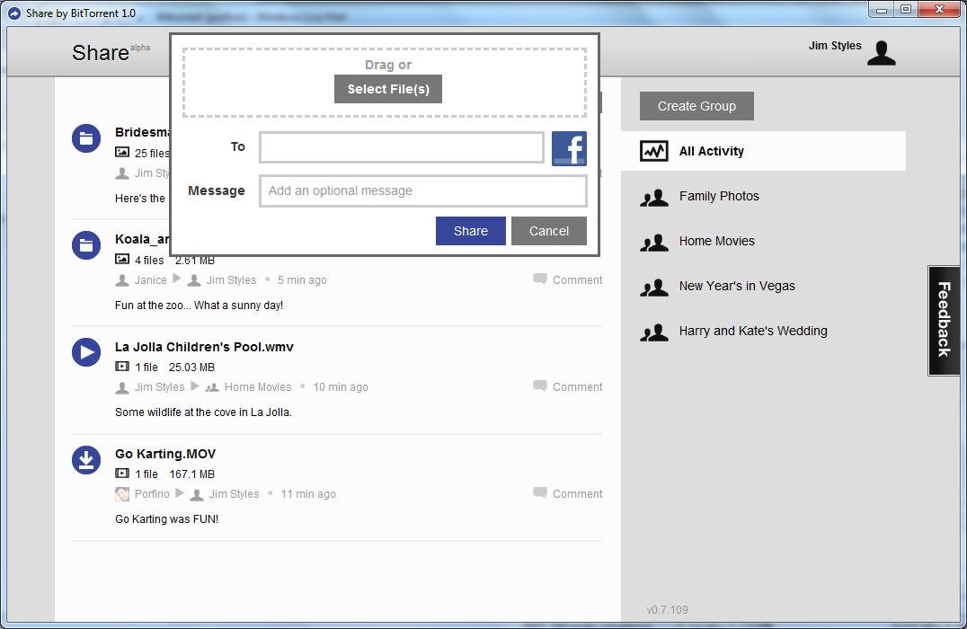 BitTorrent Share Screenshot