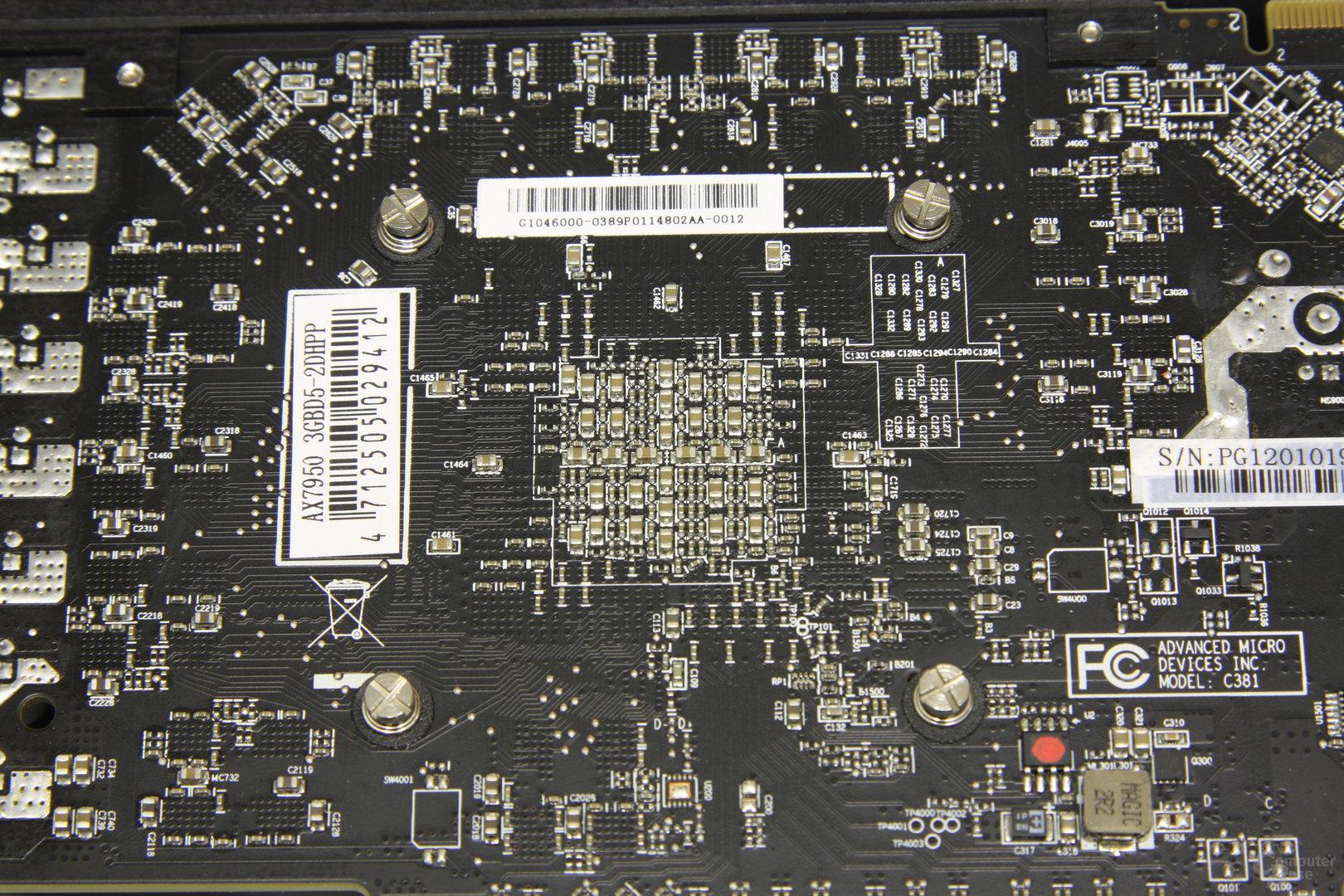 Radeon HD 7950 PCS+ GPU-Rückseite
