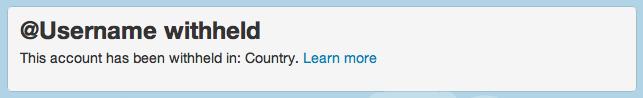 Hinweis auf einem im derzeitigen Land geblockten Twitter-Nutzer