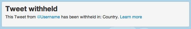 Hinweis auf einem im derzeitigen Land geblockten Tweet
