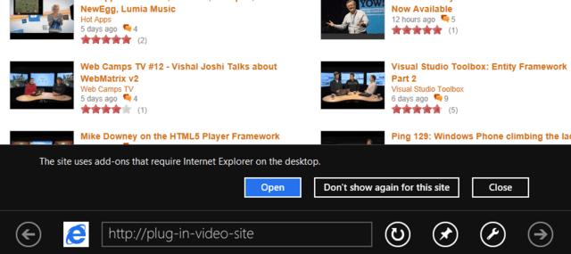 Automatischer Hinweis, dass die Standard-Version des Browsers verwendet werden sollte