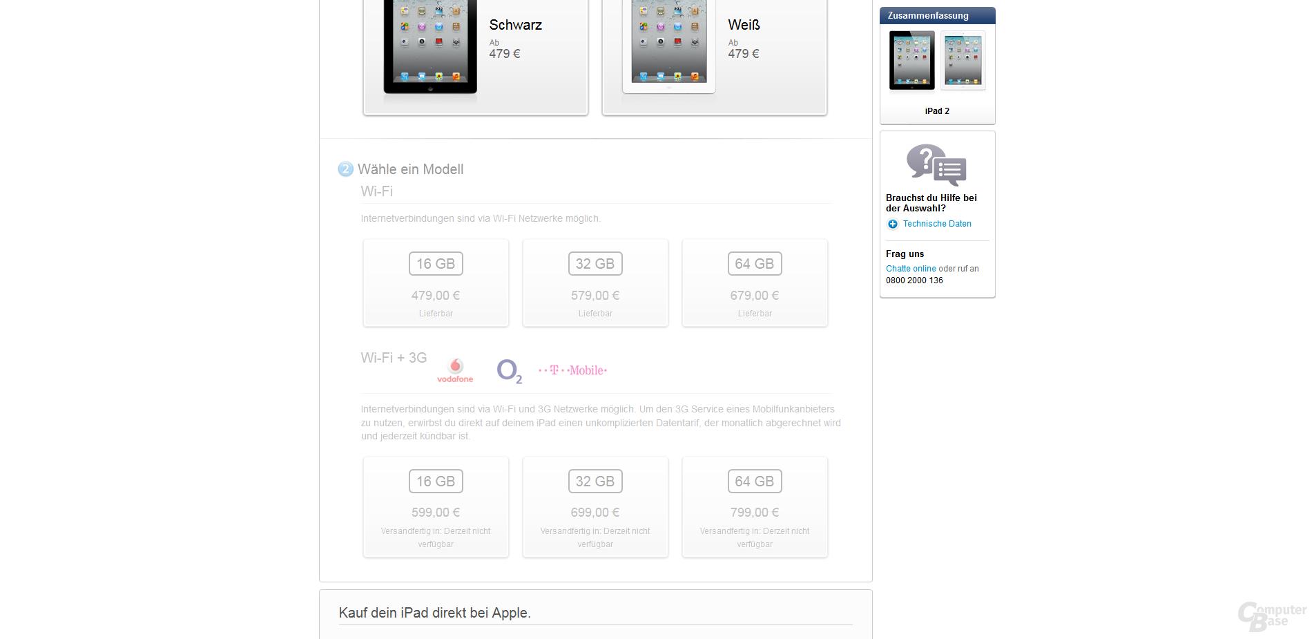 Lieferstatus: iPad 2 mit UMTS-Modul nicht verfügbar