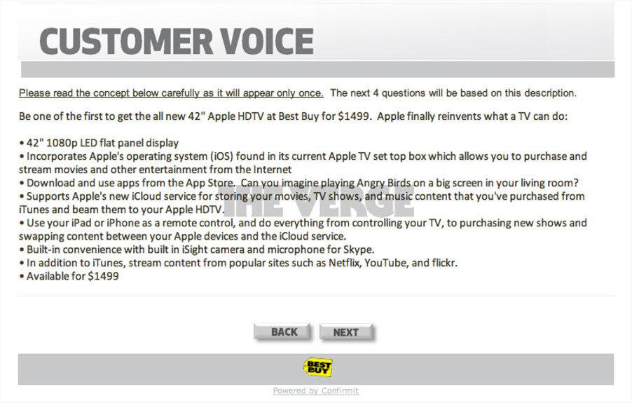 """Kundenumfrage zu einem angeblichen """"42 Zoll Apple HDTV"""""""