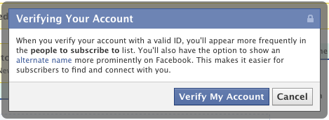 Facebook-Account-Verifizierung