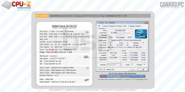 Intel Core i7-3770K bei 7.063 MHz
