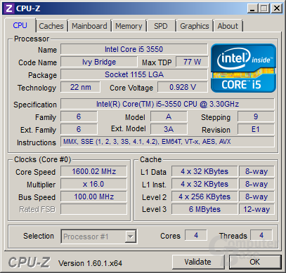 Intel Core i5-3550 im Idle