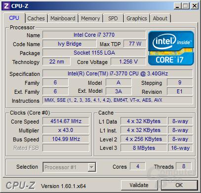 Core i7-3770 übertaktet mit Turbo für ein/zwei Kerne