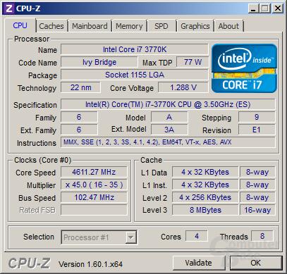 Intel Core i7-3770K bei 4,61 GHz