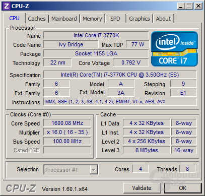 Intel Core i7-3770K im Idle (undervoltet)