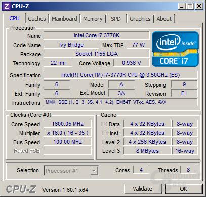 Intel Core i7-3770K im Idle