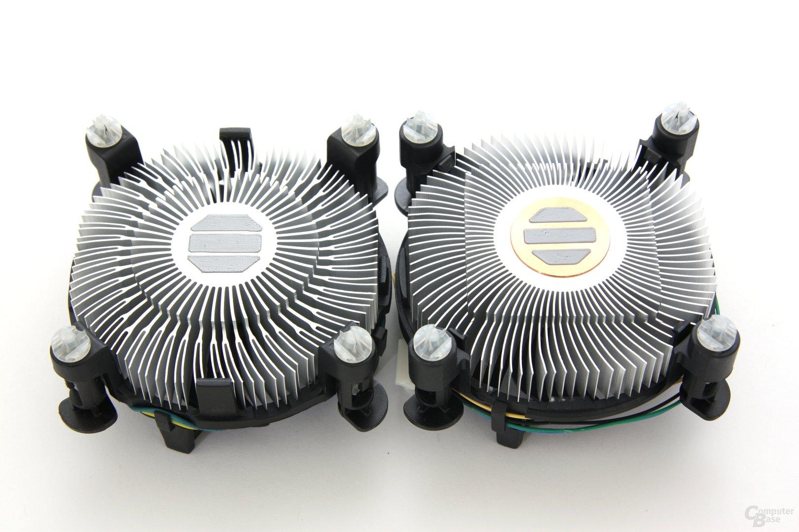 65-Watt-Kühler (li) vs. 95-Watt-Kühler (re)