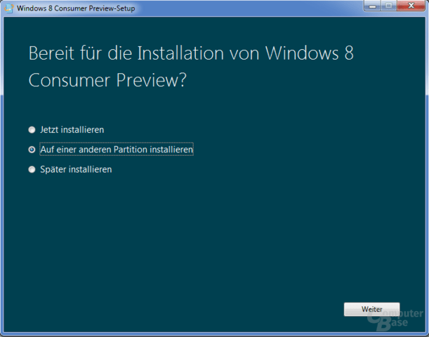 "Installation der Windows 8 ""Consumer Preview"""