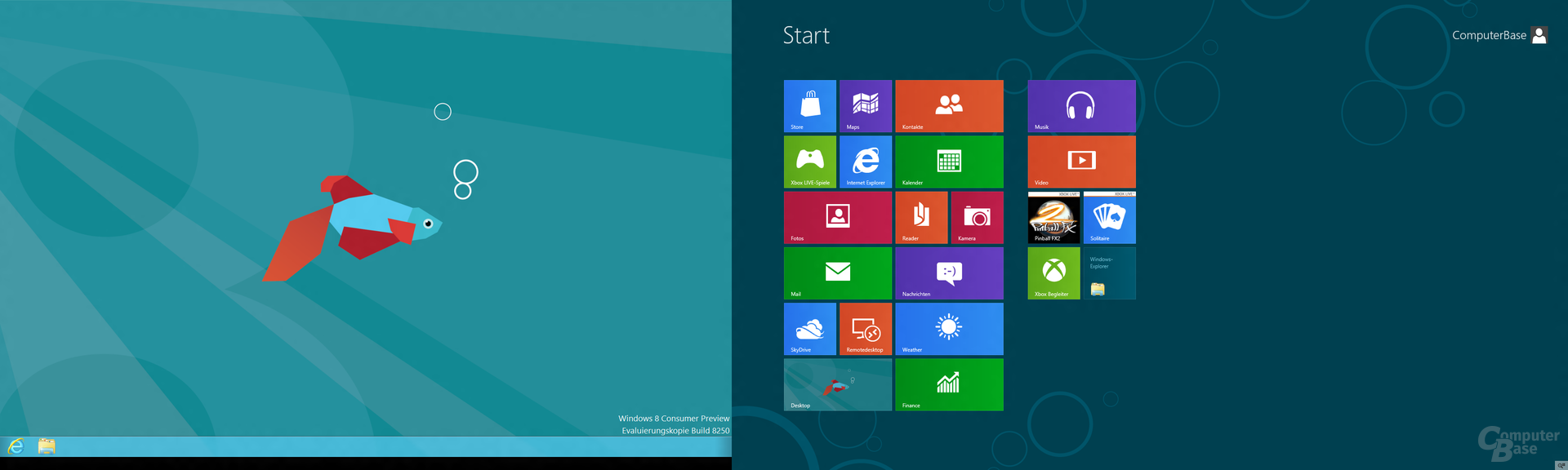 "Windows 8 ""Consumer Preview"" mit zwei Bildschirmen"