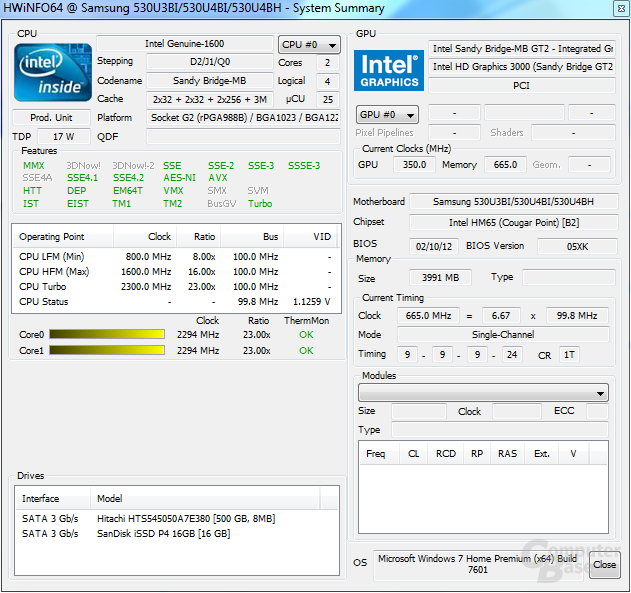 Samsung 530U3B: System unter Last