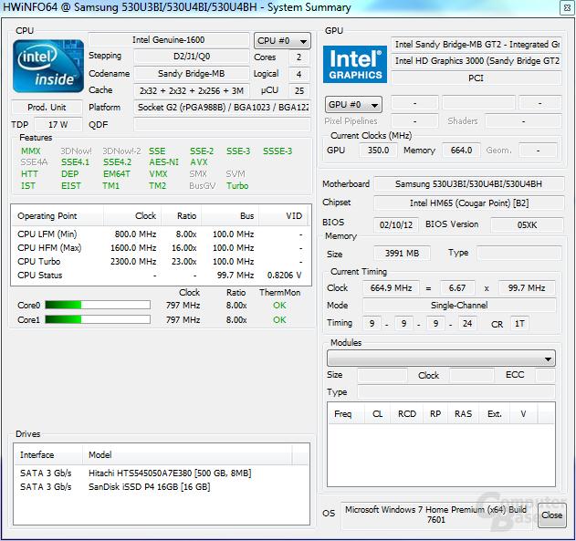 Samsung 530U3B: System im Leerlauf