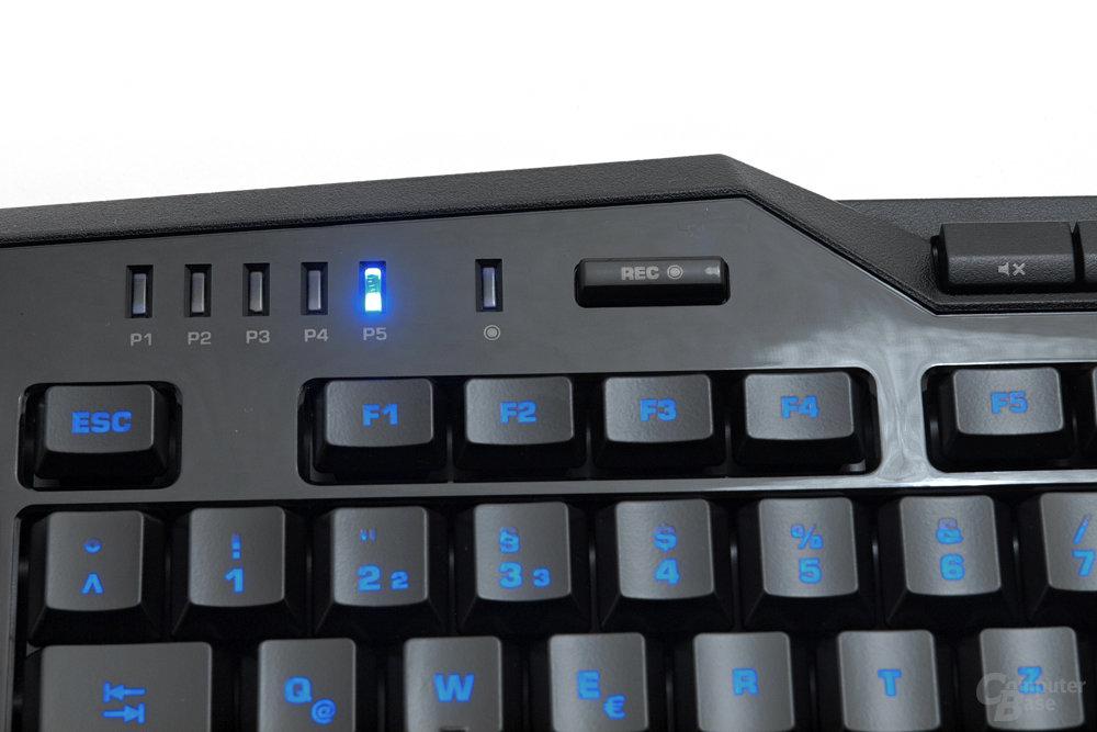 Profil-LEDs und Makro-Aufnahme-Taste