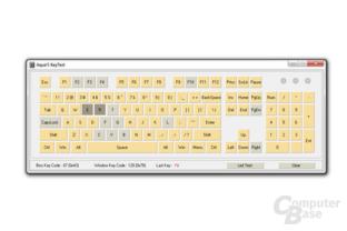 E und R gedrückt: Nur die gelben Tasten können noch zusätzlich erfasst werden