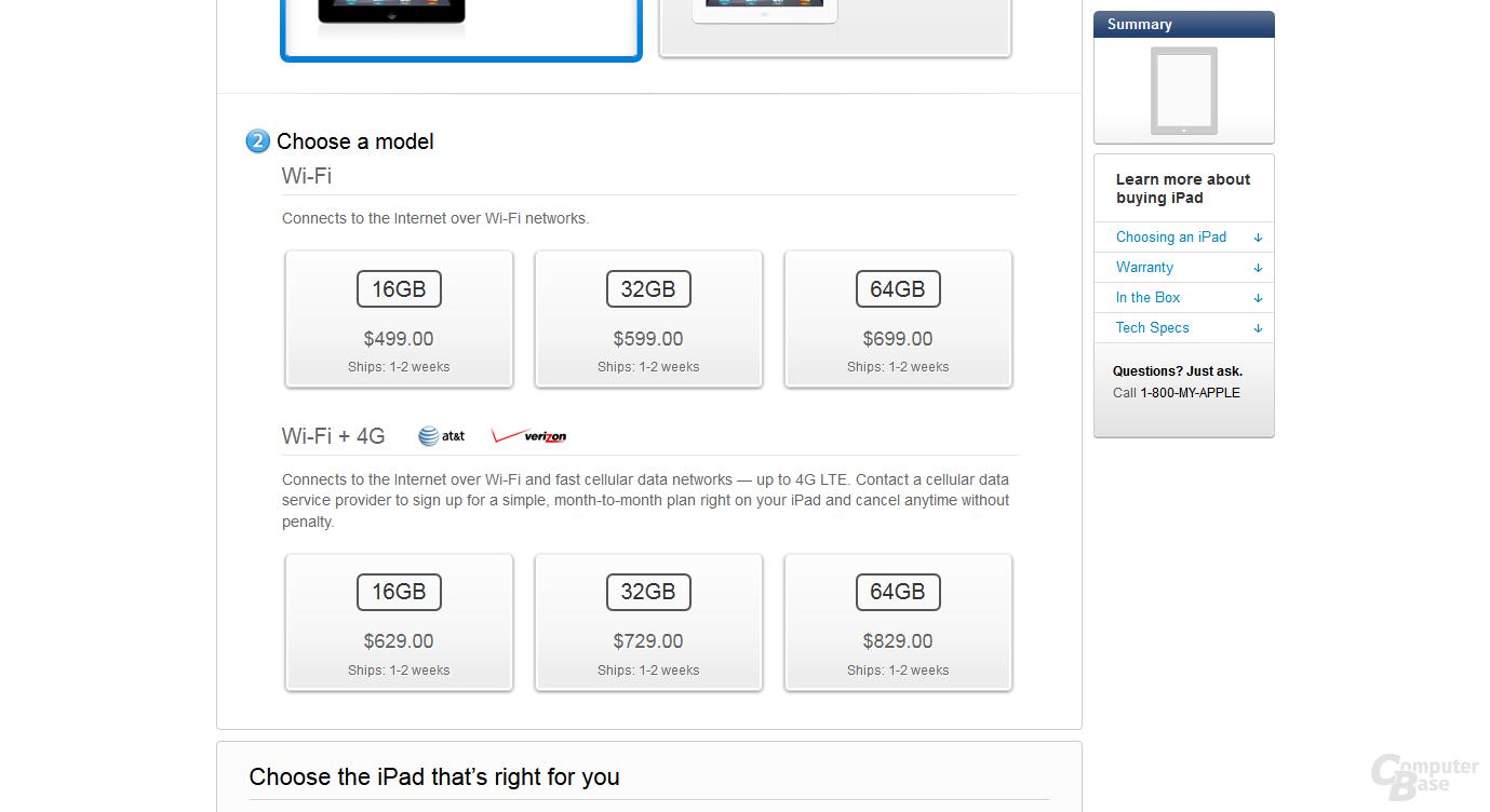Das neue iPad im US-amerikanischen Apple Store