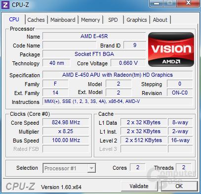 CPU-Z - Zotac Zbox nano XS AD11 Plus