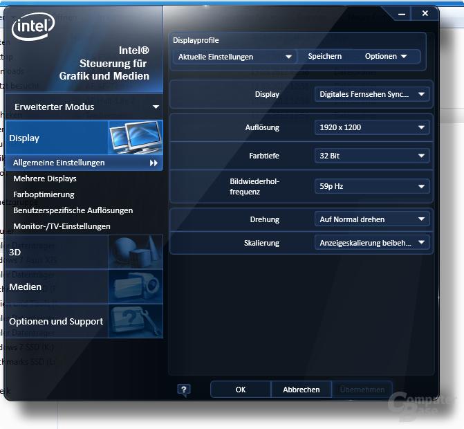Intel Ivy-Bridge-Grafik Treibermenü