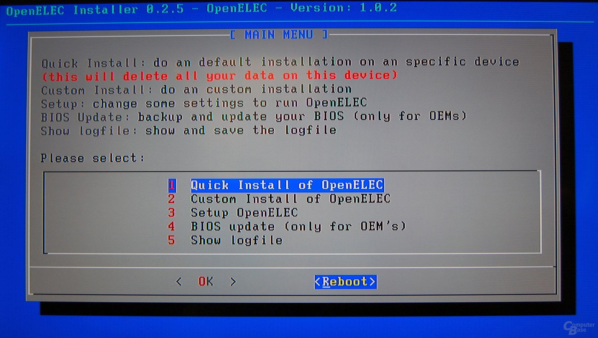 OpenELEC auf der Zbox nano XS AD11 Plus