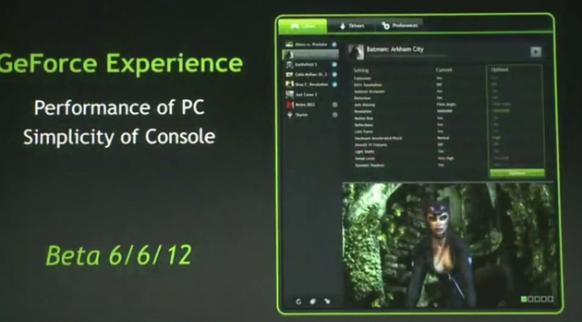 "Präsentation zu Nvidias ""GeForce Experience"""