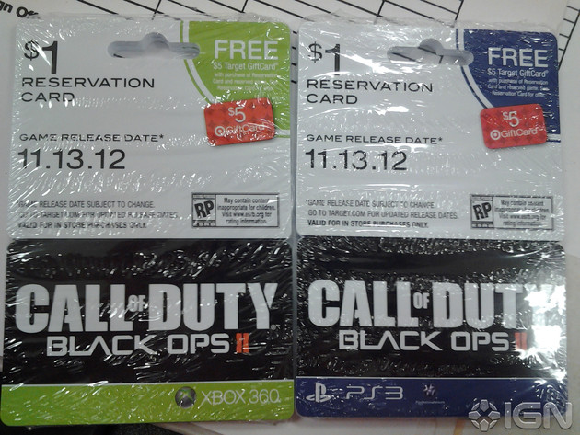 Pre-Order-Cards für CoD: Black Ops II