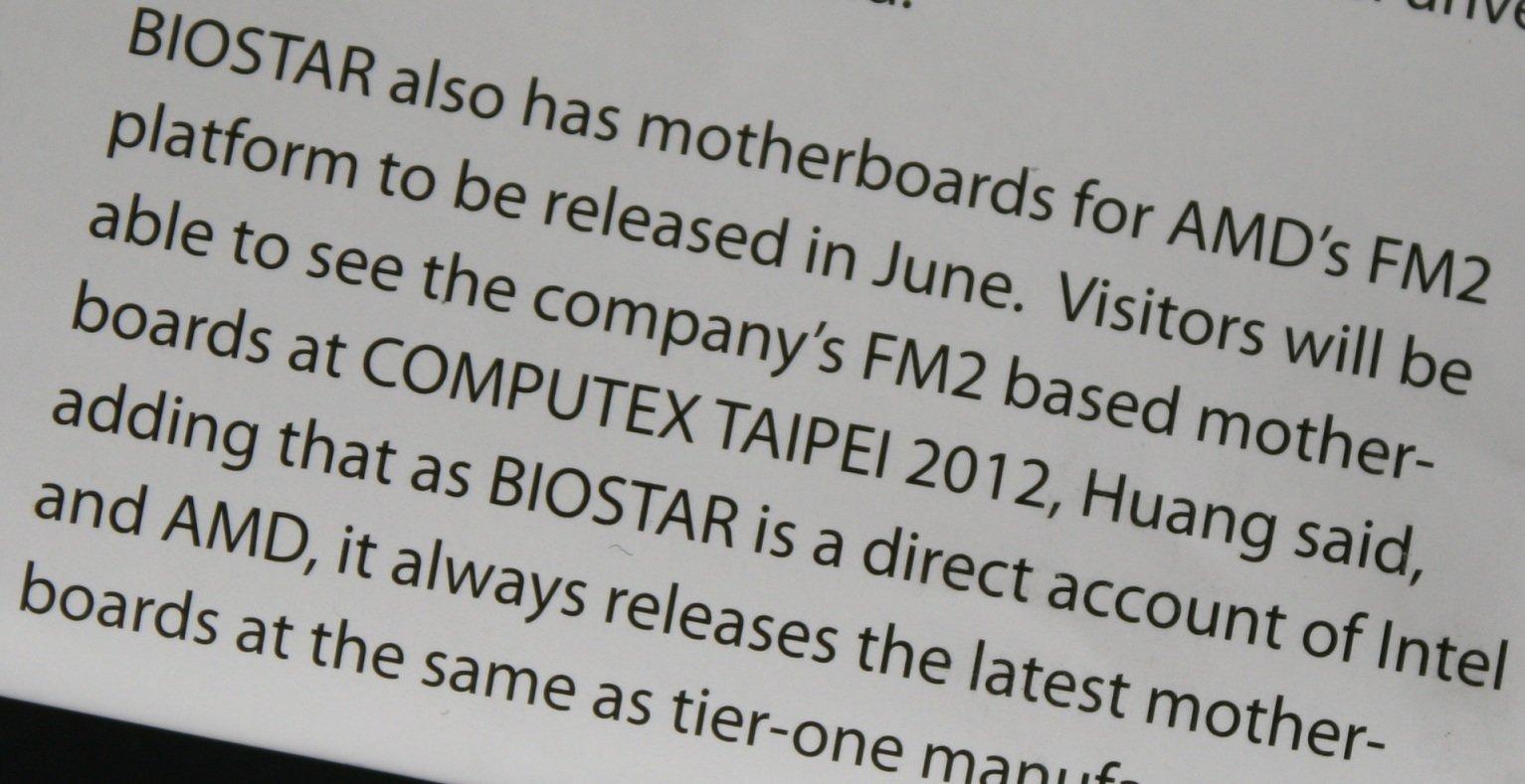 Biostars Sockel-FM2-Mainboards auf der Computex