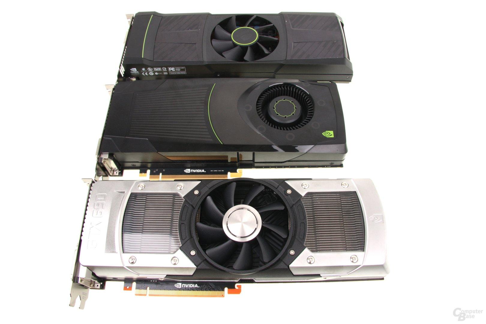 GeForce GTX 590, GTX 680 und GTX 690