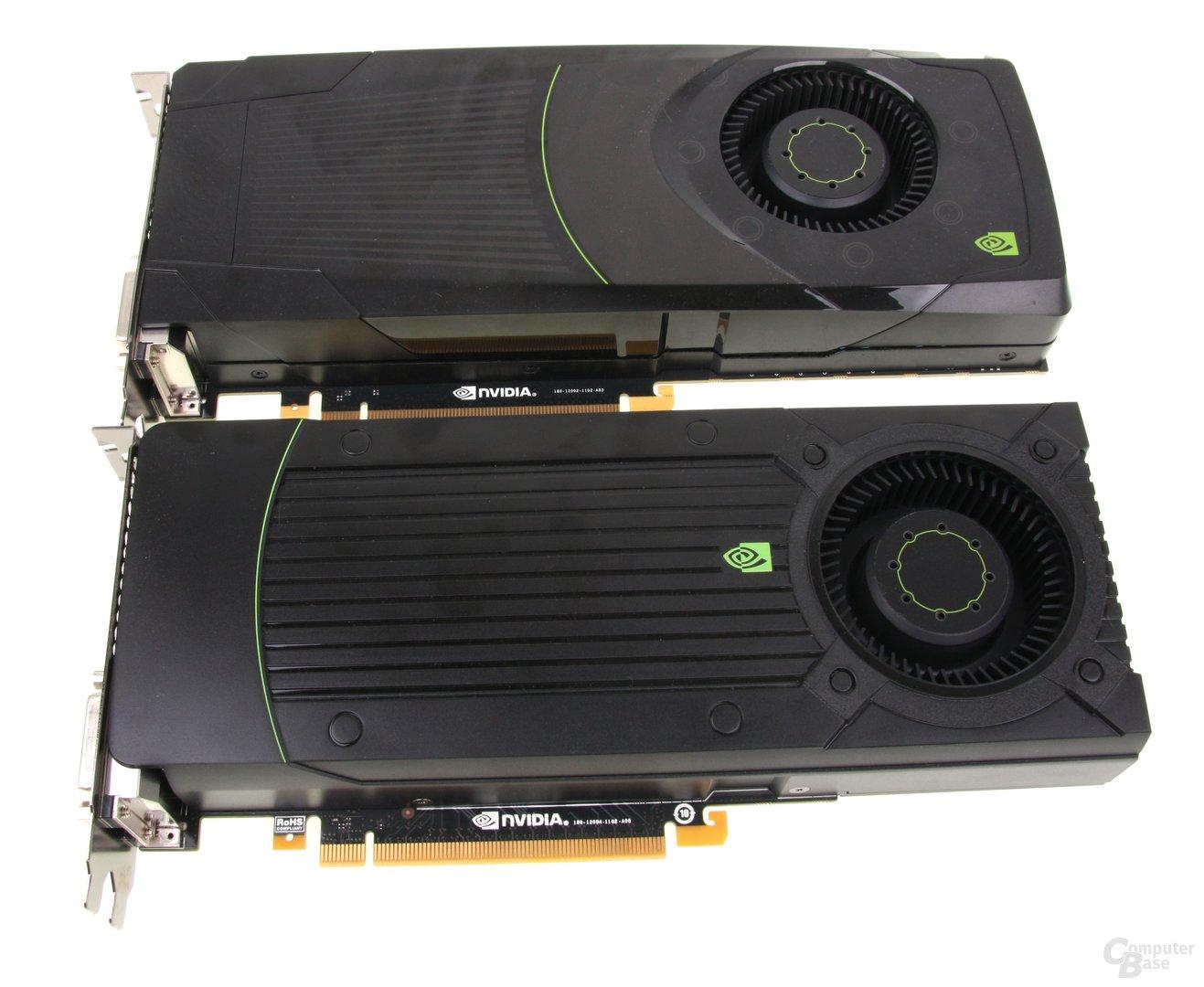 GeForce GTX 670 (unten) und GTX 680 (oben)