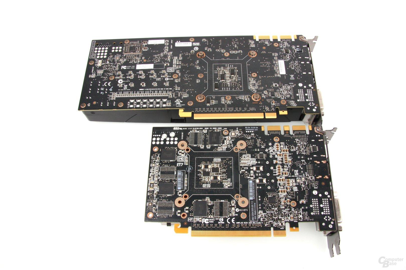 GTX 680 (oben) und GTX 670 (unten) Rückseite