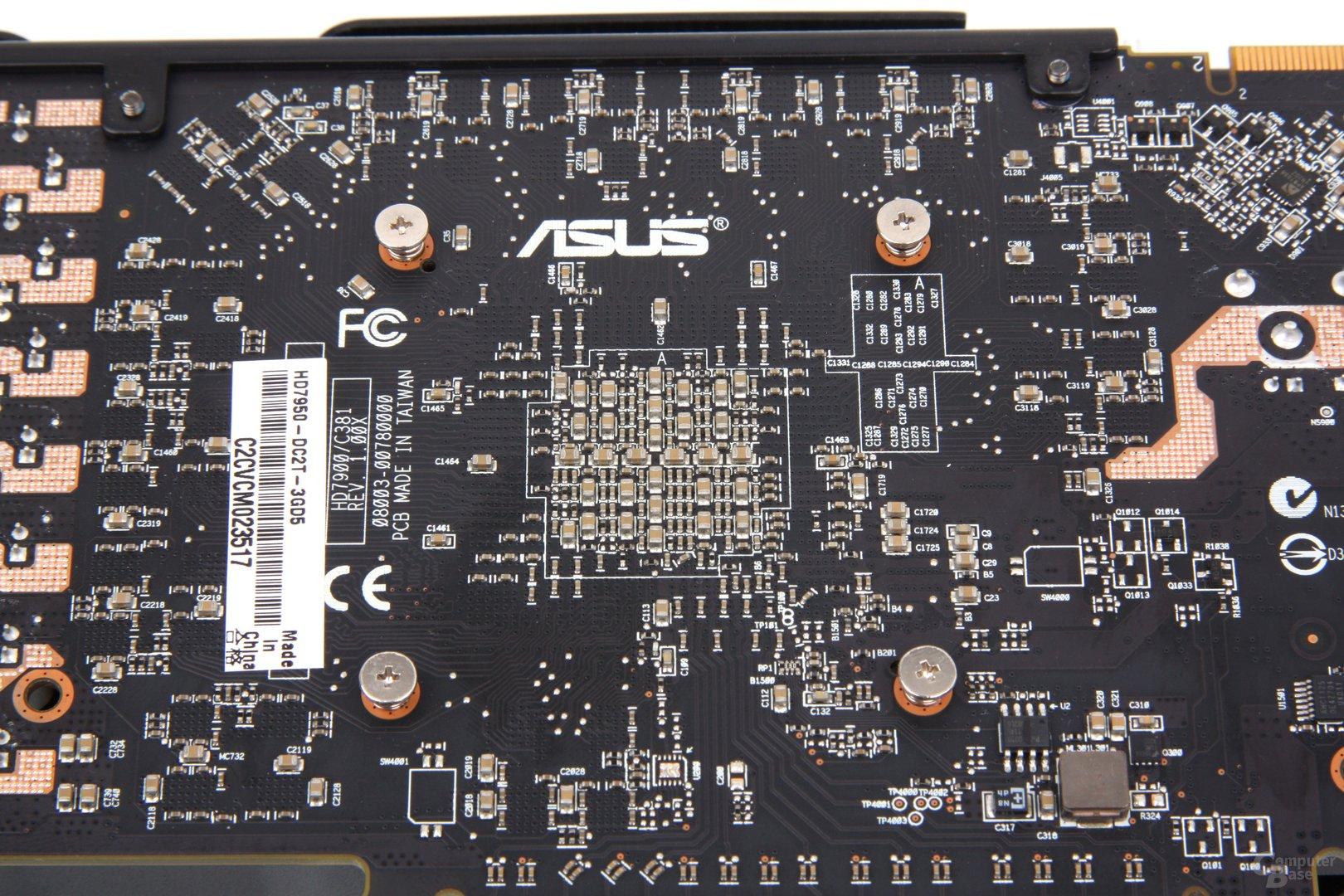 Radeon HD 7950 DCII Chiprückseite