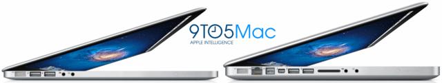 Vermutetes Design des neuen MacBook Pro (links) im Vergleich zur aktuellen Generation