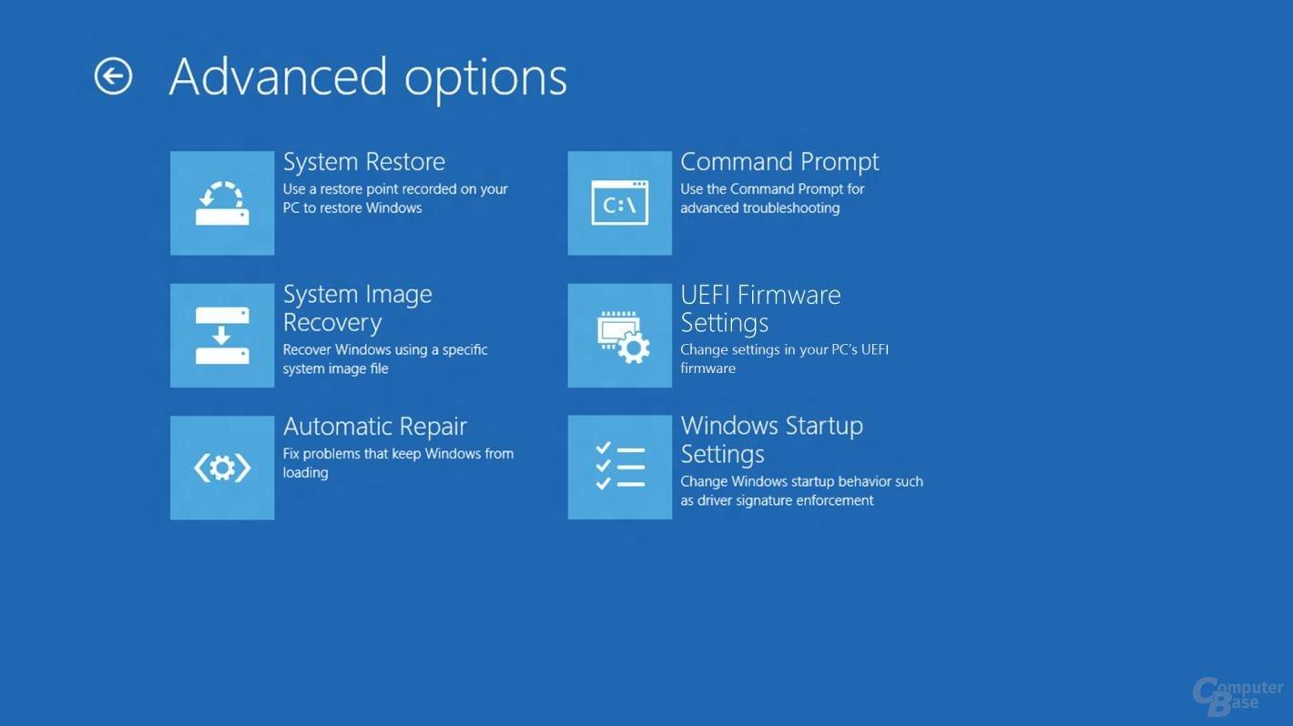 Das neue Bootmenü von Windows 8