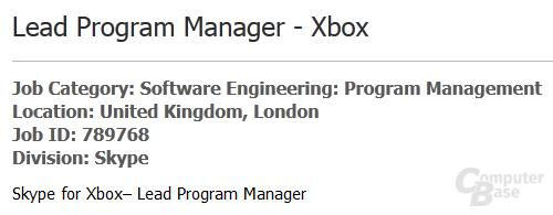 Ausschnitt aus Microsofts Stellenanzeige