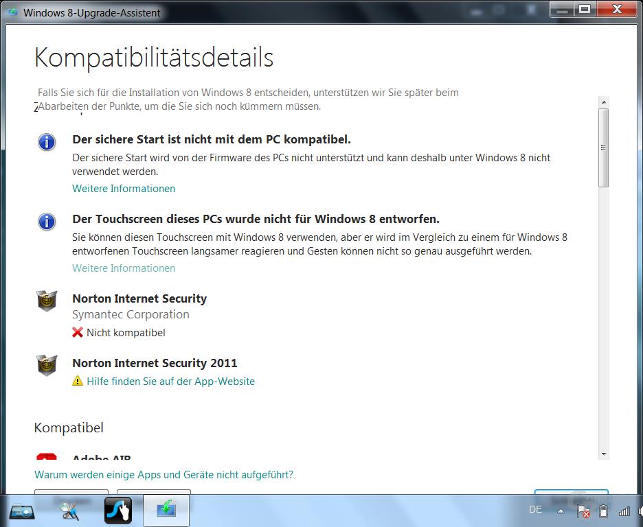 Installation auf dem Tablet (Auslieferungszustand mit Windows 7)