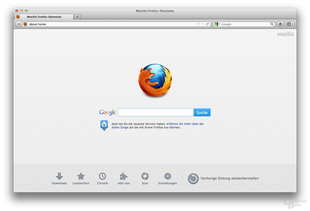 Mozilla Firefox 13 – Startseite