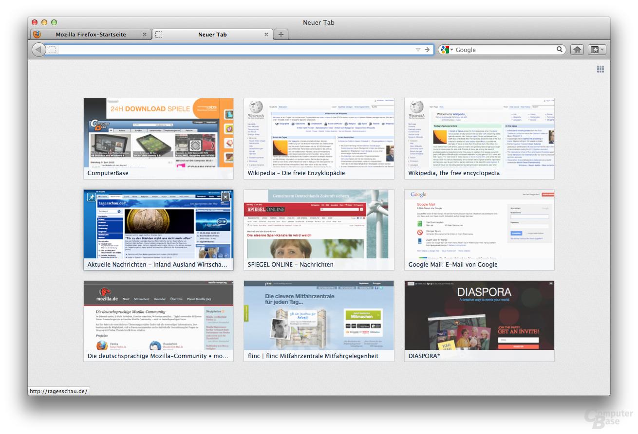 Mozilla Firefox 13 – Neuer Tab