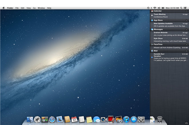 Apple Notification Center in OS X Mountain Lion