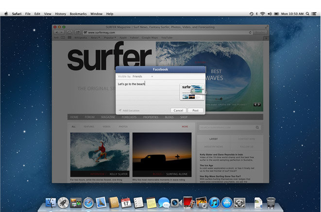 Facebook-Integration in OS X Mountain Lion