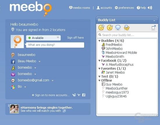 Interface von meebo
