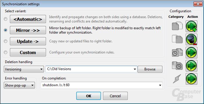 Synchronization settings