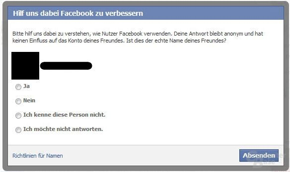 Pop-Up-Meldung von Facebook