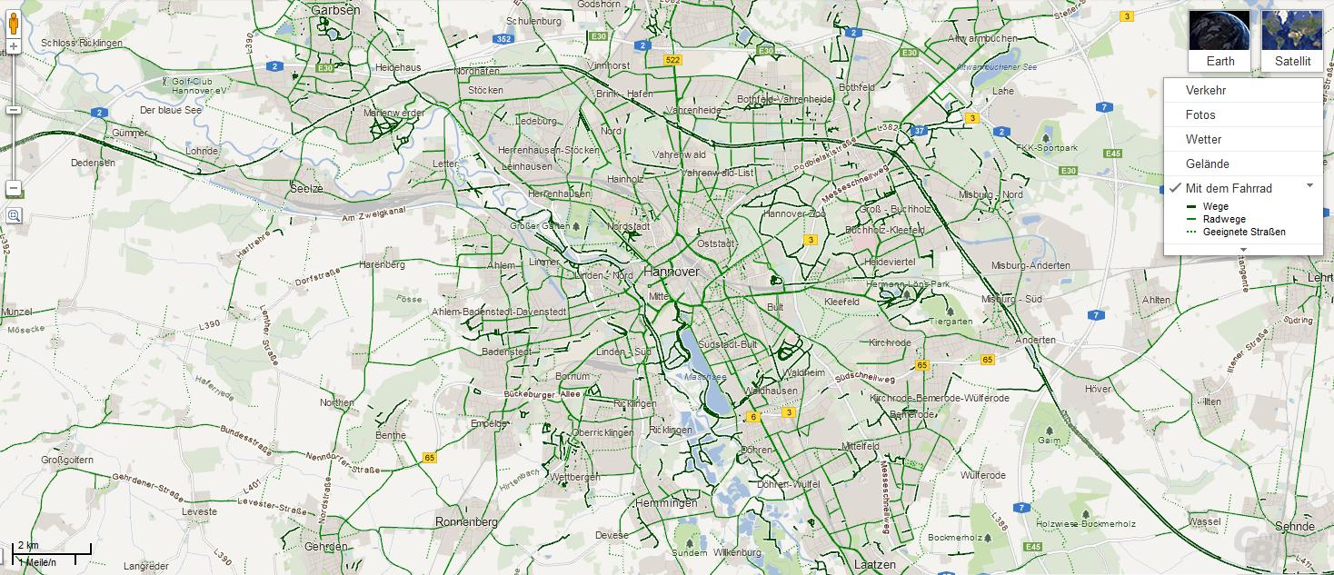 Radwege in Google Maps