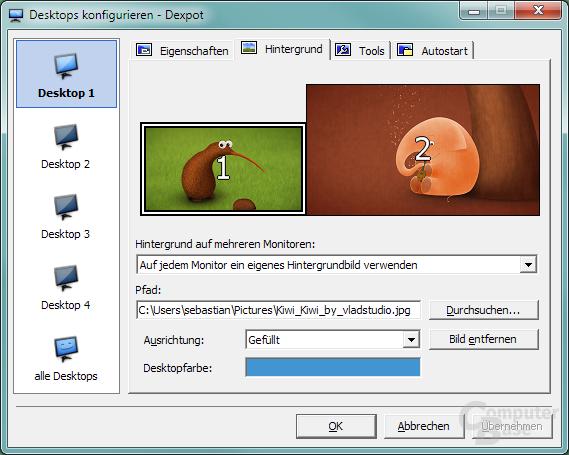 Anpassbarkeit – Verschiedene Desktophintergründe
