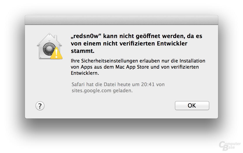 Verschärfte Sicherheitseinstellung unter OS X 10.8 Mountain Lion
