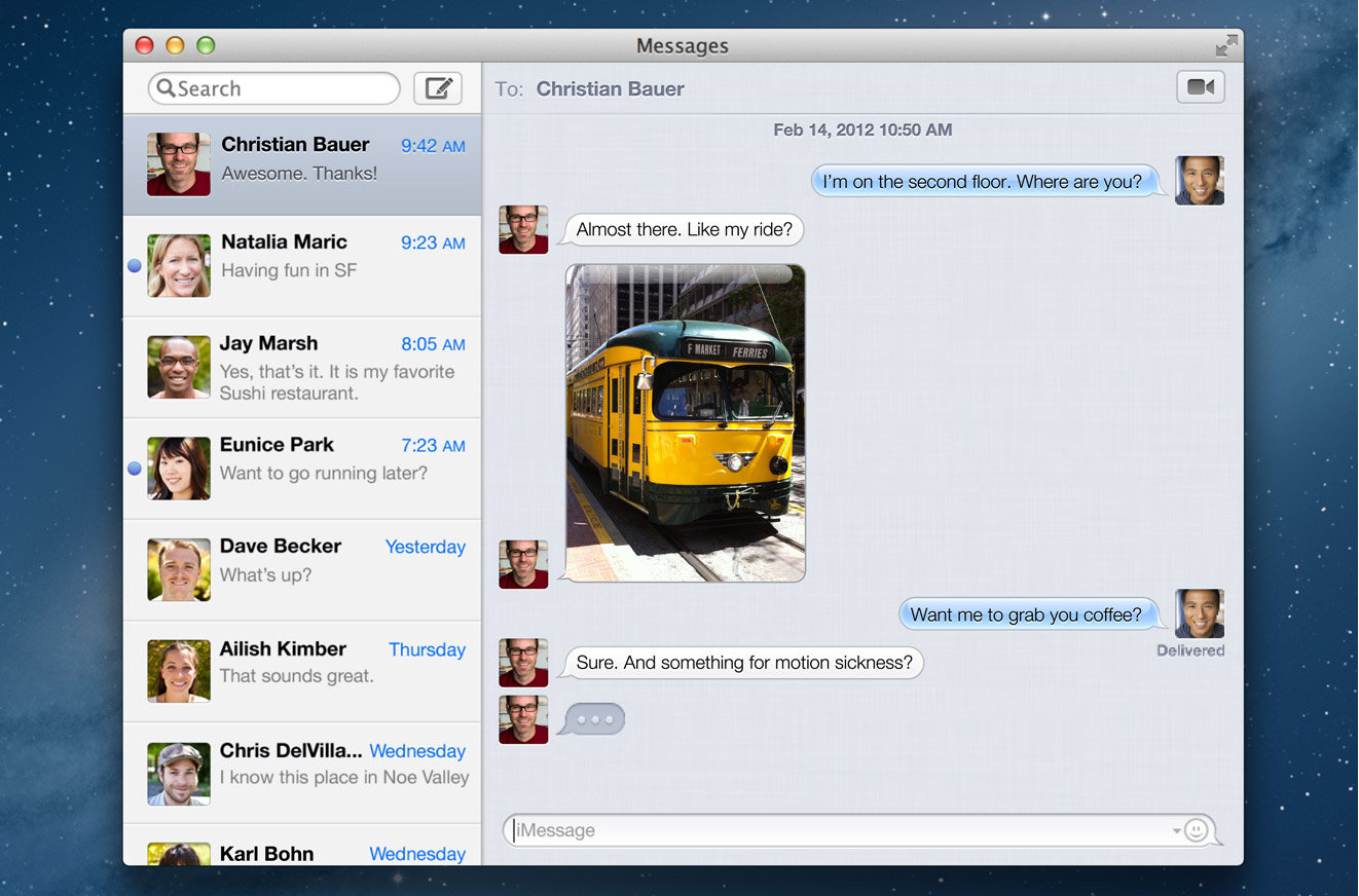 iMessages in OS X 10.8 Mountain Lion
