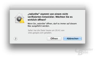 Umgehung der Sicherheitseinstellung unter OS X 10.8 Mountain Lion
